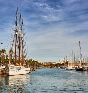 Barcelona, Spain - October 29, 2015: Boats in Barcelona Marina on a summer day